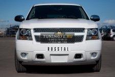 Chevrolet Tahoe 2012 Защита переднего бампера d75х42  овал CTHZ-000925