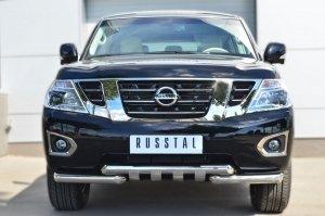 Nissan Patrol 2014- Защита переднего бампера d76 (дуга) d76х2 (дуга)+клыки PATZ-001728