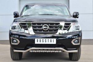 Nissan Patrol 2014- Защита переднего бампера d63 (волна)+d42 (зубы) PATZ-001731