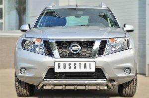 Nissan Terrano 2014-  Защита переднего бампера d42 (волна) под машину+d42 (зубы) NTRZ-001782