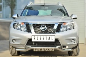 Nissan Terrano 2014-  Защита переднего бампера d63 (волна) с декор надписью NTRZ-001783