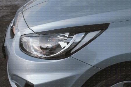 Hyundai-Solaris (седан) 2010—2013-Накладки на передние фары (реснички) компл.-2 шт.-глянец (под покраску)