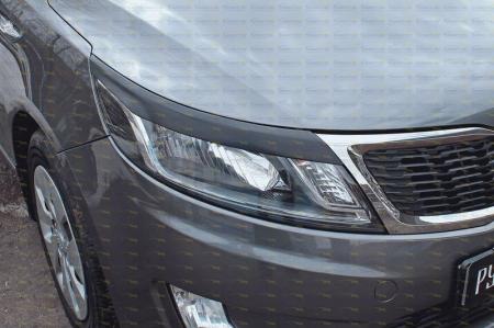Kia-Rio III 2011—2015-Накладки на передние фары (реснички) компл.-2 шт.-глянец (под покраску)