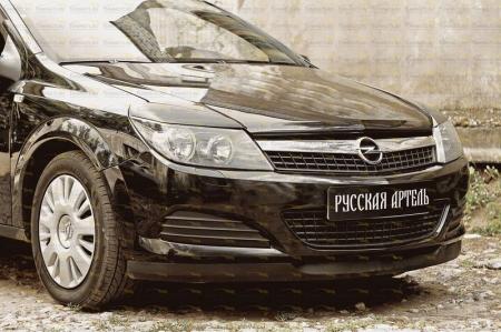 Opel-Astra 2007—2009-Накладки на передние фары (реснички) компл.-2 шт.-глянец (под покраску)