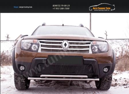 Renault-Duster 2010—2014-Защитная сетка переднего бампера (без дхо и без обвеса)-шагрень