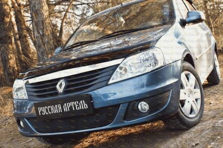 Renault-Logan 2010—2013-Зимняя заглушка решетки переднего бампера-шагрень