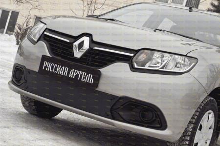 Renault-Logan 2014—н.в.-Зимняя заглушка решетки переднего бампера-шагрень
