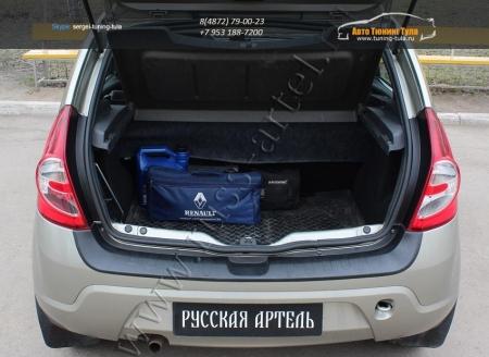 Renault-Sandero 2009—2013-Защита заднего бампера-шагрень