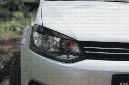 Volkswagen -Polo V 2009—н.в.-Накладки на передние фары (реснички) компл.-2 шт. Вар 2-глянец (под покраску)