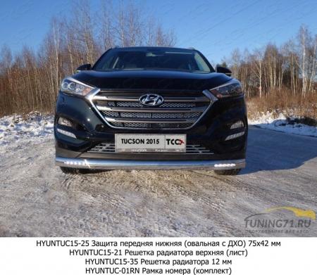 Hyundai Tucson 2015 Защита передняя нижняя (овальная с ДХО) 75х42 мм
