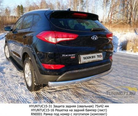 Hyundai Tucson 2015 Защита задняя (овальная) 75х42 мм