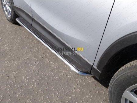 Пороги с площадкой (нерж.лист) 42,4 мм MAZDA CX-5 2015