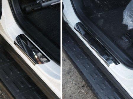Toyota RAV4 2015 Накладки на пороги (лист зеркальный)