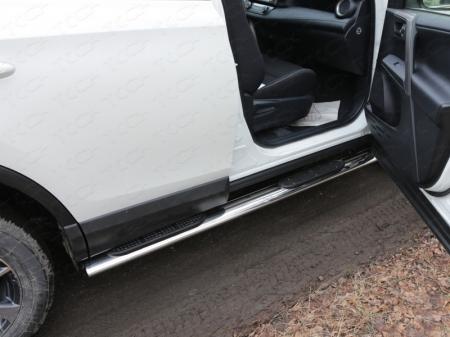 Toyota RAV4 2015 Пороги овальные с накладкой 120х60 мм