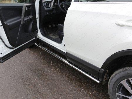 Toyota RAV4 2015 Пороги овальные с проступью 75х42 мм
