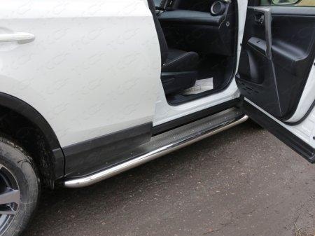 Toyota RAV4 2015 Пороги с площадкой (нерж. лист) 60,3 мм