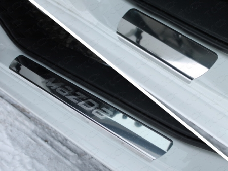 Mazda 6 2015 Накладки на пороги (лист зеркальный надпись Mazda)
