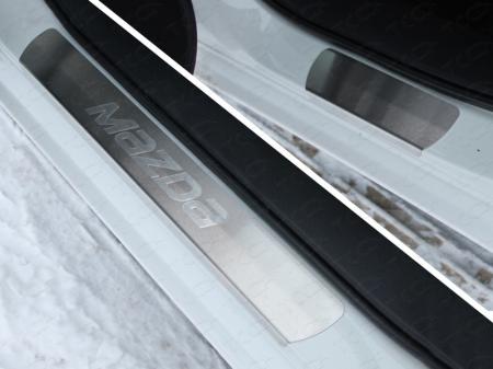 Mazda 6 2015 Накладки на пороги (лист шлифованный надпись Mazda)