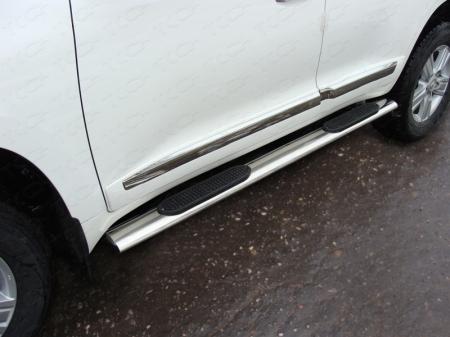 Toyota Land Cruiser 200 2015 Пороги овальные с накладкой 120х60 мм