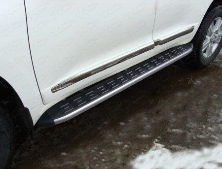 Toyota Land Cruiser 200 2015 Пороги алюминиевые с пластиковой накладкой (карбон серебро) 1720 мм