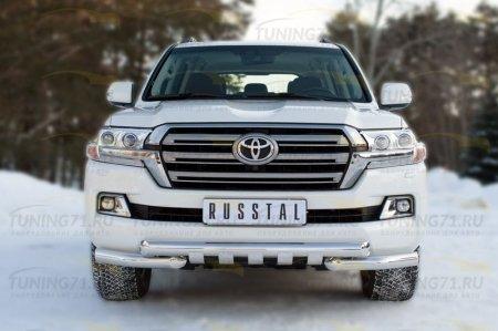 Toyota Land Cruiser 200 2015 Защита переднего бампера d76 (дуга) d76 (секции)+клыки TLCZ-002164