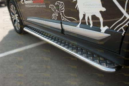Mitsubishi Outlander 2015- Пороги труба  d42 с листом MOL-002111
