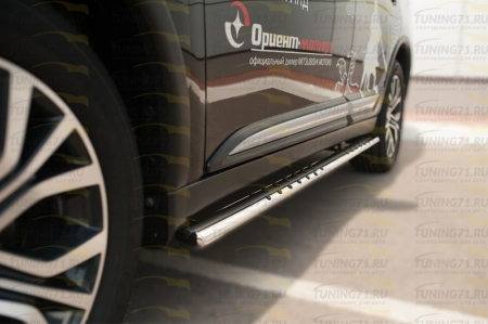 Mitsubishi Outlander 2015- Пороги труба 75х42 овал с проступью MOO-002109