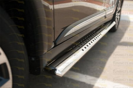 Mitsubishi Outlander 2015- Пороги труба 120х60 овал с проступью MOO-002110