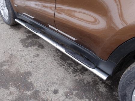 Kia Sportage 2016- Пороги овальные с накладкой 75х42 мм