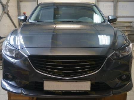 2012-   Mazda 6 Решетка радиатора Sport (Решетка радиатора крашенная в черный глянец 1 шт., алюминиевая кр.сетка 1 шт.)
