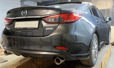 2012- Mazda 6 Накладка на задний бампер ABS пластик Диффузор 1 шт., боковые клыки 2 шт.
