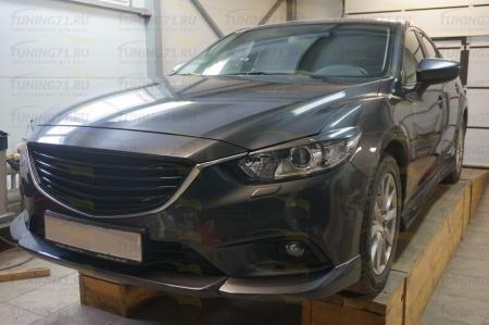 2012- Mazda 6 Накладка на передний бампер (Центральная накладка 1 шт., боковые клыки 2 шт.)