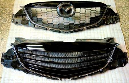 2011-2015  Mazda CX 5 Решетка радиатора Решетка радиатора крашенная в черный глянец 1 шт., алюминиевая кр.сетка 1 шт.