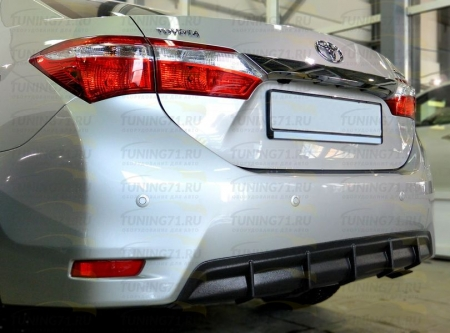 2013- Toyota Corolla E160 Диффузор (Накладка на задний бампер) (Под покраску или тиснение)