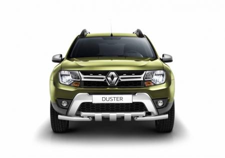 Защита переднего бампера двойная с зубьями ?63/63мм (НПС) Renault Duster 2016-