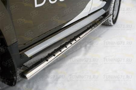RENAULT Duster 2015 Пороги труба 75х42 овал с проступью RDO-002181