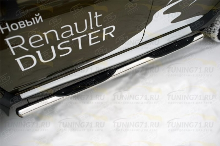 RENAULT Duster 2015 Пороги труба d76 с накладкой (вариант 3) RDT-0021793