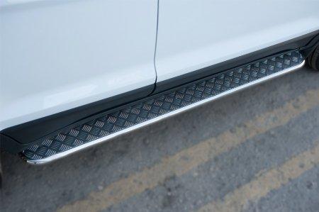 Ford Ecosport 2014- Пороги труба  d42 С листом (Лист алюм., проф. нерж) (Вариант 1)FEL-002059