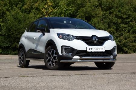 Защита переднего бампера двойная ?63/63мм (НПС) Renault Kaptur 2016-