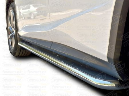 LEXUS RX200t 2015- Пороги труба  d42 С листом (Лист нерж, проф. нерж)(Вариант3) LRX2L-0023733