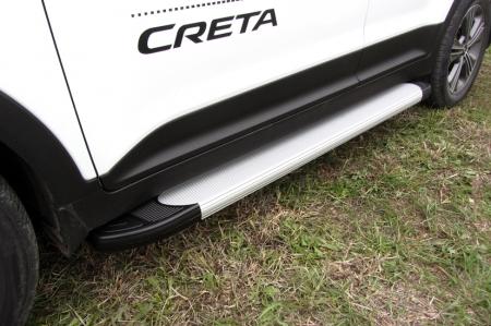 "Hyundai CRETA 4WD (2016)-Пороги алюминиевые ""Optima Silver"" 1700 серебристые"