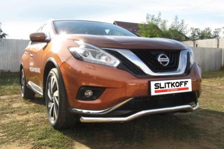 "Nissan MURANO 2016 - Защита переднего бампера d57 ""волна"""