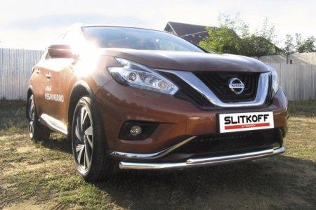 Nissan MURANO 2016 - Защита переднего бампера d57+d42 двойная длинная