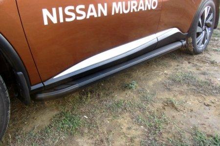 """Nissan MURANO 2016- Пороги алюминиевые """"Optima Black"""" 1800 черные"""