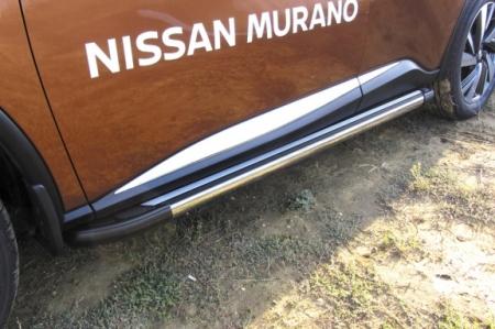 """Nissan MURANO 2016- Пороги алюминиевые """"Luxe Black"""" 1800 черные"""