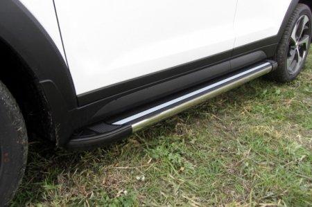 "Hyundai TUCSON 2015-4WD-Пороги алюминиевые ""Luxe Black"" 1700 черные"