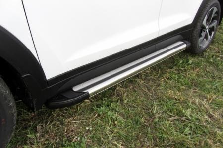 "Hyundai TUCSON 2015-4WD-Пороги алюминиевые ""Luxe Silver"" 1700 серебристые"