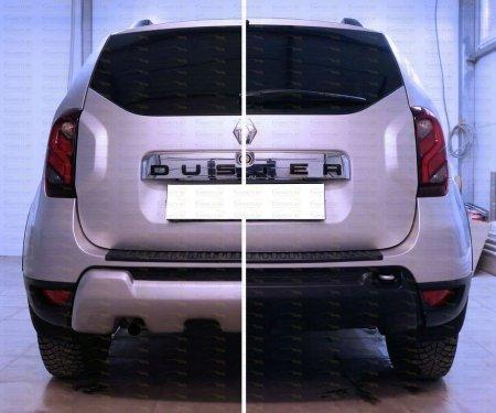 2015-  Renault Duster - Накладка на задний бампер. ABS пластик.Накладка на задн.бампер 1 шт., крепеж.элем. 1 шт., лючок 1 шт.