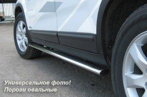 Toyota Highlander 2010 пороги труба d75х45 овал THO-000734