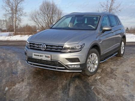 """Volkswagen Tiguan 2017- Защита передняя нижняя (двойная) 42,4/42,4 мм (Пакет """"Offroad"""")"""